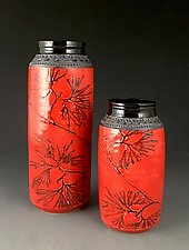 Pair of Red Cylinder Vases with Creeping Cedar by Suzanne Crane (Ceramic Vases)