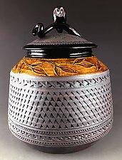 Owl Jar with Amber Frieze by Suzanne Crane (Ceramic Jar)