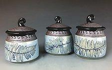 Fiddlehead Box in Cornflower Blue by Suzanne Crane (Ceramic Jar)