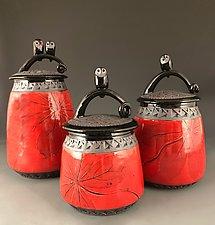 Owl Jars in Red by Suzanne Crane (Ceramic Jars)