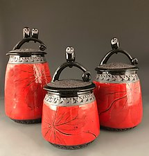 Owl Jars in Red by Suzanne Crane (Ceramic Jars)