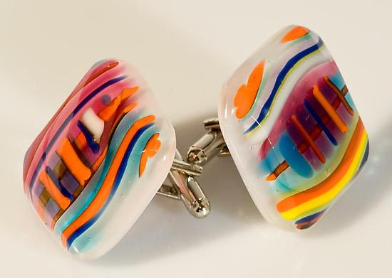 Cuff Links with Bright Colored Pinstripes