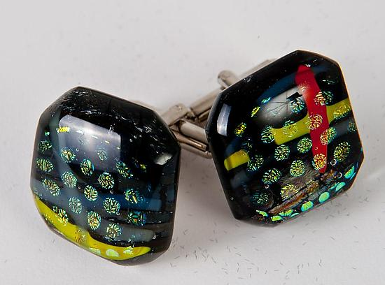 Dichroic Circles and Stripes Cuff Links