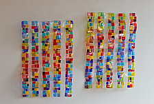 Retro Mesh Diptych by Renato Foti (Art Glass Wall Sculpture)