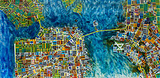 Map of San Francisco by Renato Foti (Art Glass Wall Sculpture)