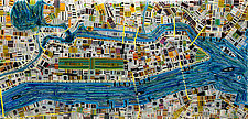 Map of New York by Renato Foti (Art Glass Wall Sculpture)