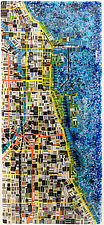 Map of Chicago by Renato Foti (Art Glass Wall Sculpture)
