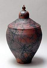 Horse Hair Vessel with Glass by Ron Mello (Ceramic Vessel)
