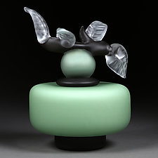 Novi Zivot (New Life) Satin Sea Foam Short Cylinder by Eric Bladholm (Art Glass Vessel)