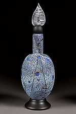 Winter Willow Decorative Bottle -  Elongated Sphere by Eric Bladholm (Art Glass Vessel)