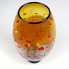 Hibiscus Honey by Eric Bladholm (Art Glass Vase)