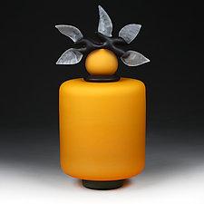 Novi Zivot (New Life) Saffron Satin Short Cylinder by Eric Bladholm (Art Glass Vessel)