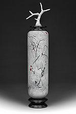 Zimska Jabuka (Winter Apple) Tall Cylinder by Eric Bladholm (Art Glass Vessel)