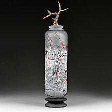Zimska Jabuka (Winter Apple) Bronze Tall Cylinder by Eric Bladholm (Art Glass Vessel)