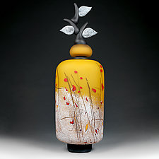 Izrazi Zivota (Expressions of Life) Satin Zoloty (Gold) Abstract by Eric Bladholm (Art Glass Vessel)