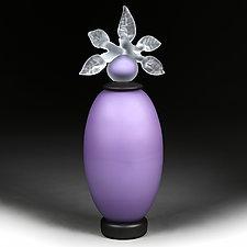 Novi Zivot Mali (New Life Petite) Amethyst Satin Elongated Sphere by Eric Bladholm (Art Glass Vessel)