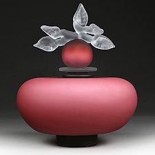 Novi Zivot Luksuz (New Life Deluxe) Regal Rose Satin Short Sphere by Eric Bladholm (Art Glass Vessel)