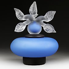 Novi Zivot Mali (New Life Petite) Sapphire Satin Short Sphere by Eric Bladholm (Art Glass Vessel)
