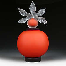 Novi Zivot Mali (New Life Petite) Crimson Satin Sphere by Eric Bladholm (Art Glass Vessel)