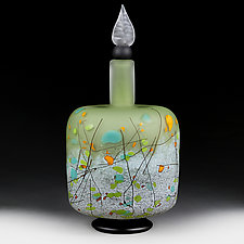 Mountain Meadow Cylinder Decorative Bottle by Eric Bladholm (Art Glass Bottle)