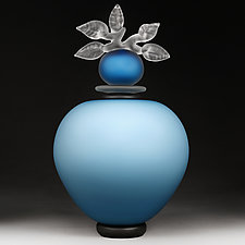 Novi Zivot Luksuz (New Life Deluxe) Adriatic Satin Large Sphere by Eric Bladholm (Art Glass Vessel)