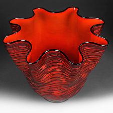 Crimson Cascade II by Eric Bladholm (Art Glass Vessel)