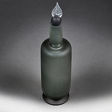 Towering Tourmaline Large Decorative Bottle Studio Sample by Eric Bladholm (Art Glass Bottle)