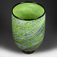 Emerald Echo Studio Sample by Eric Bladholm (Art Glass Vase)