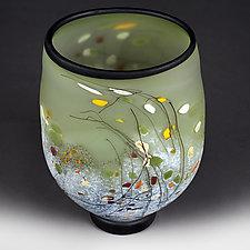 Summer Sage Flat-sided Vase (Experimental Sample) by Eric Bladholm (Art Glass Vase)