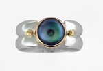 Double Half-Round Ring by Linda Smith (Silver, Gold & Pearl Ring)
