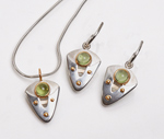 Peridot Shield Set by Linda Smith (Silver, Gold & Stone Set)