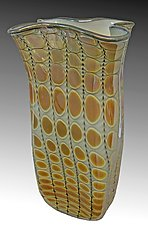 Opal Mirrored Ivory Gold Reptilian Bag Vase by Thomas Philabaum (Art Glass Vase)