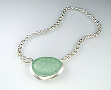Aya Necklace in Green by Amy Faust (Art Glass & Silver Necklace)