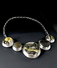 Meadow Necklace with Beach Pebbles by Amy Faust (Silver & Ceramic Necklace)
