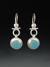 Isis Earrings in Egyptian Blue by Amy Faust (Art Glass & Silver Earrings)