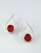 Modernist Hoop in Red by Amy Faust (Art Glass & Silver Earrings)
