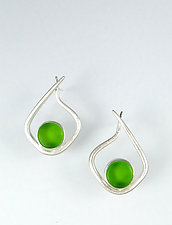 Modernist Hoop in Green by Amy Faust (Art Glass & Silver Earrings)