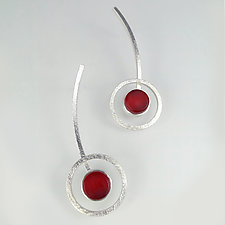Orphist Earrings by Amy Faust (Art Glass & Silver Earrings)