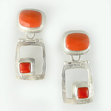 Modern Hinged Earrings by Amy Faust (Art Glass & Silver Earrings)