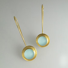 Gold Vermeil Rain Drop Earrings in Seafoam by Amy Faust (Art Glass & Silver Earrings)