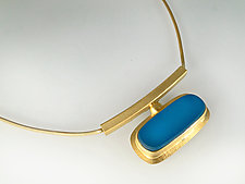 Horizon Necklace in Cyan by Amy Faust (Art Glass & Silver Necklace)