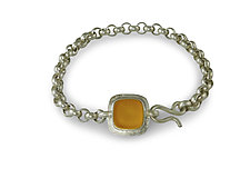 Small Classic Square Bracelet by Amy Faust (Silver & Glass Bracelet)