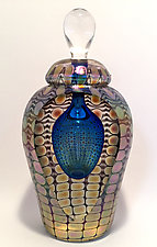 Faceted Tall, Gold Exterior by Thomas Philabaum (Art Glass Perfume Bottle)