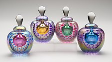 Faceted Round, Colored Exteriors & Bubbles by Thomas Philabaum (Art Glass Perfume Bottle)