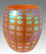 Opal Tangerine Nutty Bowl by Thomas Philabaum (Art Glass Bowl)