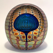 Faceted Reptilian Round Paperweights by Thomas Philabaum (Art Glass Paperweight)