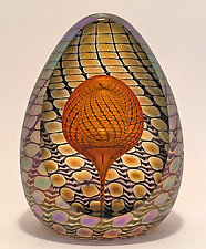 Faceted Reptilian Egg Paperweights by Thomas Philabaum (Art Glass Paperweight)