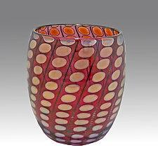 Red Shiny Transparent Nutty Bowl by Thomas Philabaum (Art Glass Bowl)