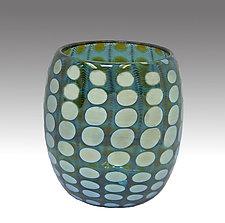 Teal Shiny Transparent Nutty Bowl by Thomas Philabaum (Art Glass Bowl)
