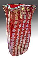 Opal Mirrored Red Reptilian Bag by Thomas Philabaum (Art Glass Vase)